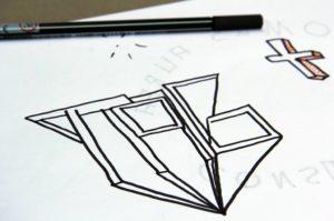 konzeptzeichnungen und anfänge beim graffiti workshop mit b-ceed