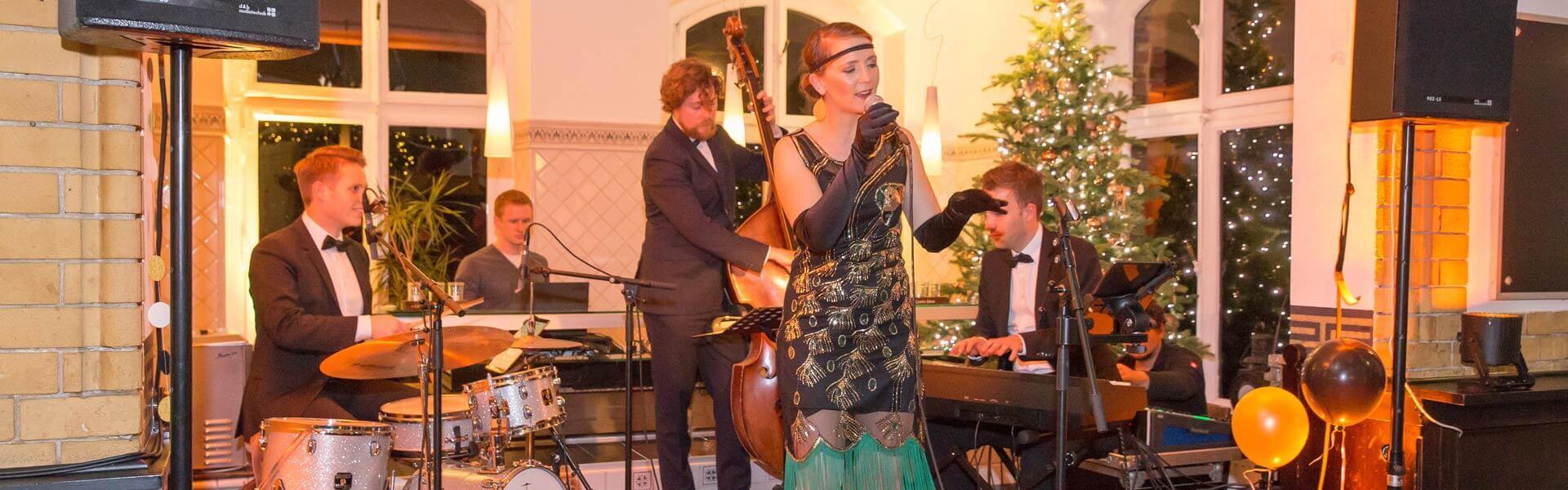 Jazz Live Band zur 20er Jahre Gatsby Weihnachtsparty b-ceed events