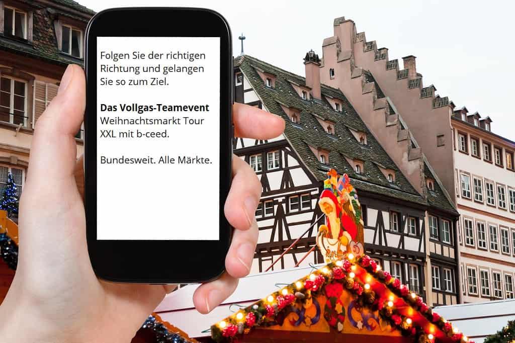 weihnachtsmarkt tour in Köln, Düsseldorf, Bonn, Frankfurt, München: b-ceed Teamevent als Weihnachtsfeier Rahmenprogramm