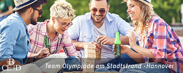 Teambuilding Hannover: Beach Olympiade mit Holzjenga und Teamspielen mit b-ceed