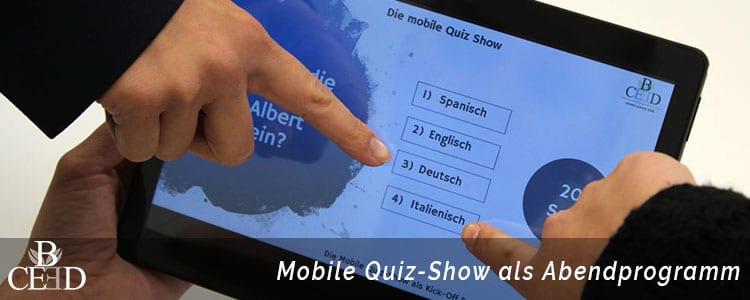 Betriebsausflug in Frankfurt mit mobiler Quiz-Show von b-ceed: events