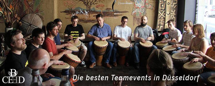 Teambuilding Düsseldorf: Der Trommel Workshop gilt als eines der beliebtesten Teamevents in Duesseldorf. Jetzt bei b-ceed buchen.