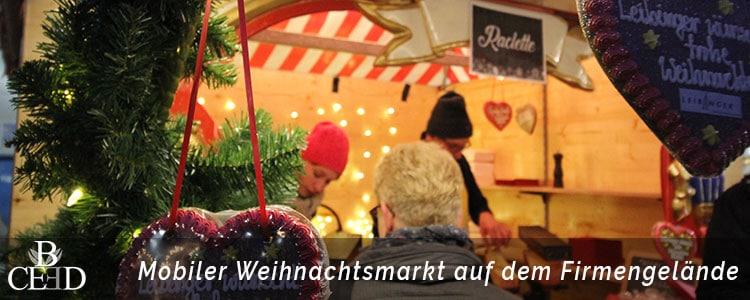 Mobiler Weihnachtsmarkt auf dem eigenen Firmengelände. Weihnachtsfeier Hamburg mit b-ceed
