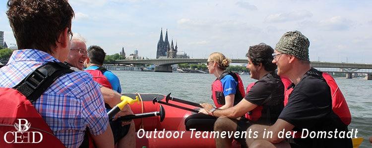 Outdoor Teambuilding in Koeln auf dem Rhein mit Rafting - b-ceed: events