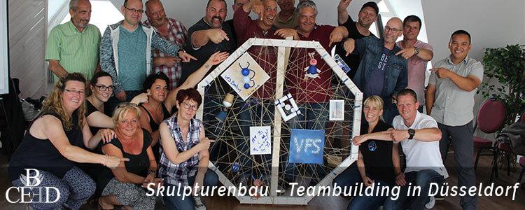 Skulpturenbau als Teambuilding in Düsseldorf, durchgefuehrt von der Eventagentur b-ceed