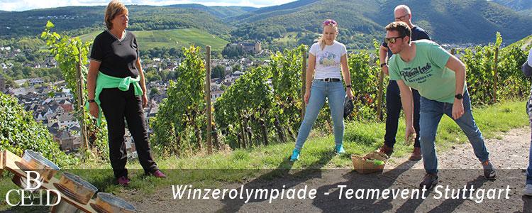 Teambuilding Stuttgart: Weinwanderung und Winzerolympiade in den Weinbergen von Stuttgart. Kulinarisches Event mit b-ceed
