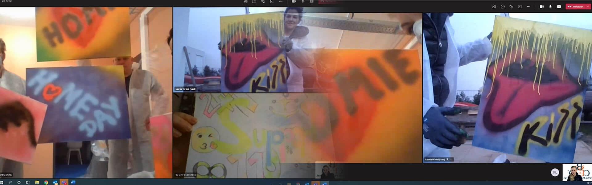 Kreatives remote Teamevent mit dem Graffiti Workshop von b-ceed