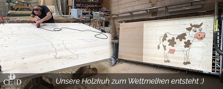 Wettmelken bei Bauernhof Team Events - mit der Holzkuh Lotte von b-ceed: eventagentur