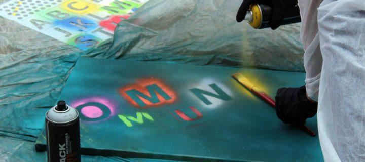 Graffiti Workshop mit Action und Kunst - sprühen im Team b-ceed